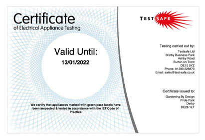 portable appliance testing certification & reports